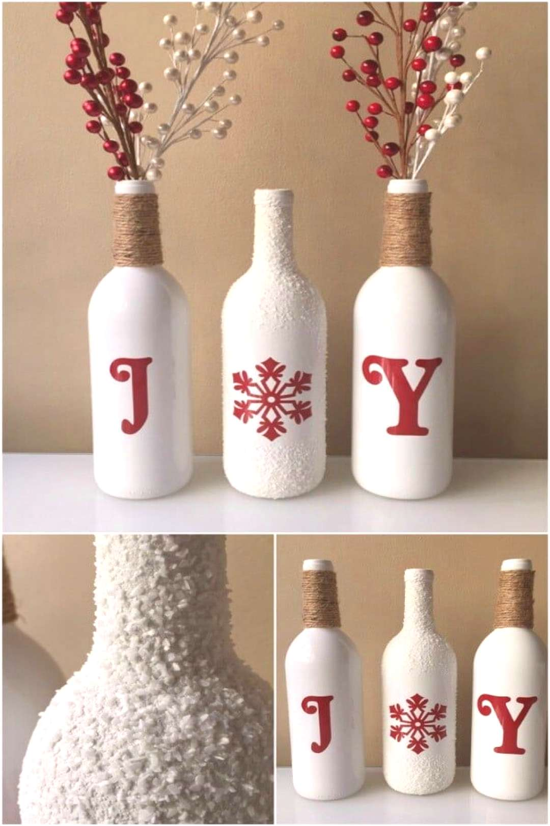 20 Festively Easy Wine Bottle Crafts For Holiday Home Decorating - So, Christmas decorating season