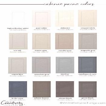30 beautiful cabinet paint colors for kitchens and baths.