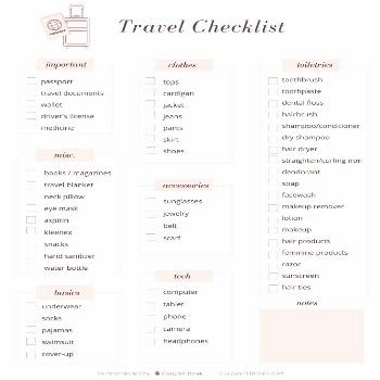 Classy and trendy checklist for the Vacation To World trip
