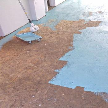DIY Painted Particle Board Floor. Learn what products to use - and how to apply them - to completel