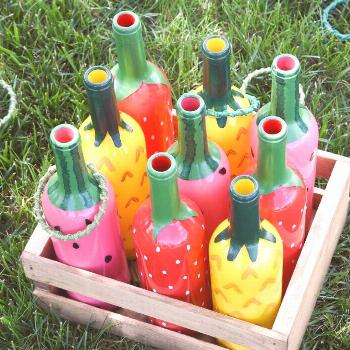 Fruit salad ring toss - wine bottle crafts - upcycled crafts - recycled crafts - outdoor game - gam