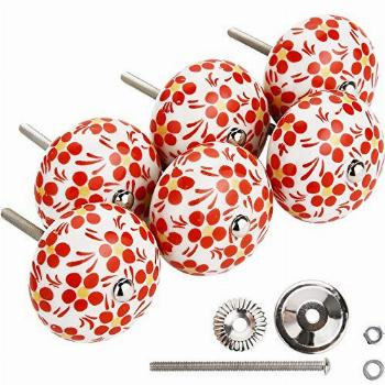 IEIK Red Cabinet Knobs Ceramic Pull Handle, Large Hand
