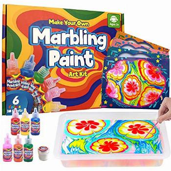 MOFGDNI Arts and Crafts for Kids Ages 6-12 Water Marbling