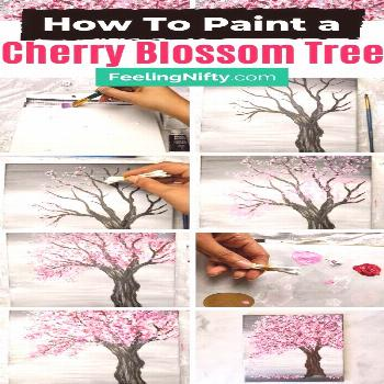 Painting a Cherry Blossom Tree with Acrylics and Cotton Swabs! Learn how to paint an easy cherry bl