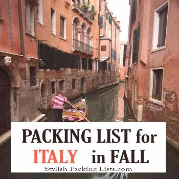 Stylish Female Packing List for Italy in Fall / Autumn: September, October & November - Stylish Pac
