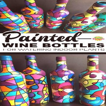 These painted wine bottles are so fun to make. They're great for watering potted plants. The long n