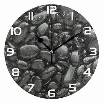WellLee Black Pebbles Stone Clock Acrylic Painted Silent