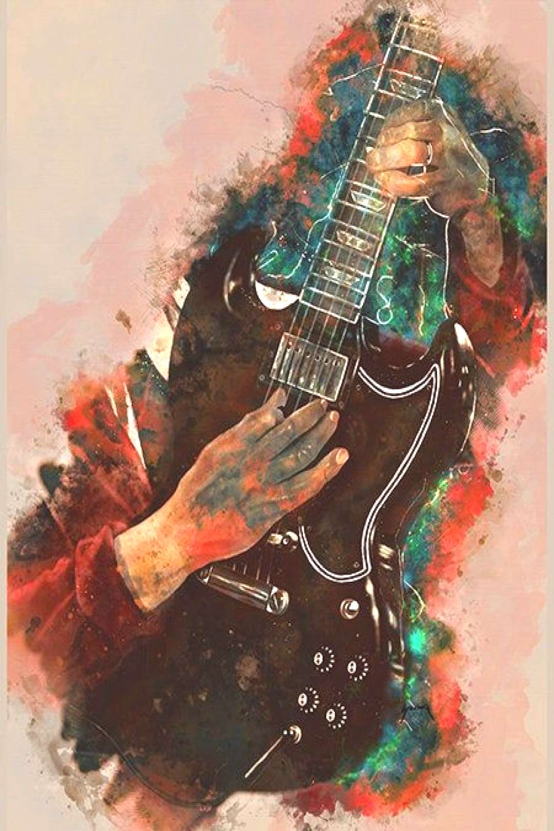 Angus Youngs electric guitar 12x16quot guitar art, music wall art, music poster, music room decor, ha