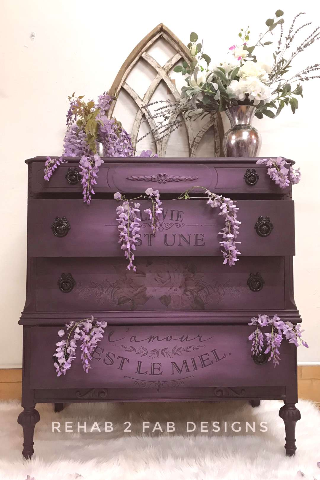 Black Cherry Antique Dresser Makeover This dresser was given a much needed makeover using chalk syn