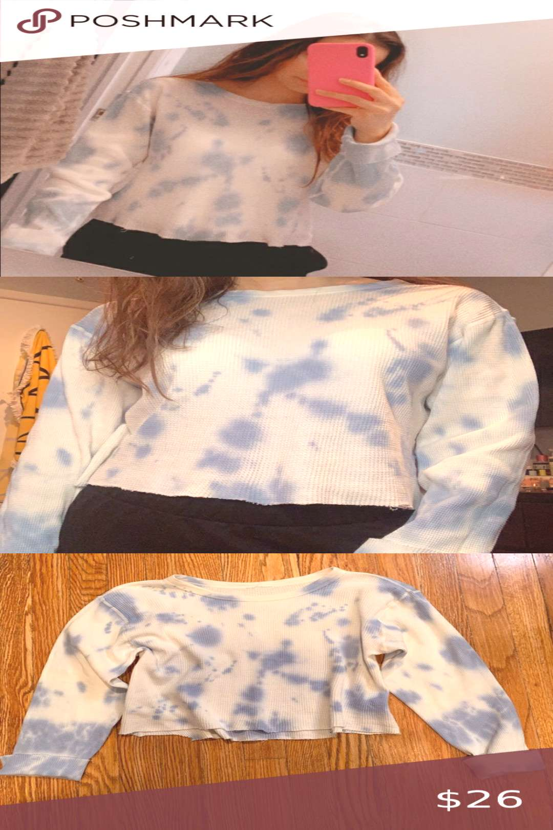 Blue Tie Dye Thermal!! Blue Tie Dye Thermal!! No tag but fits XS/S. Fits a little cropped. Tagge