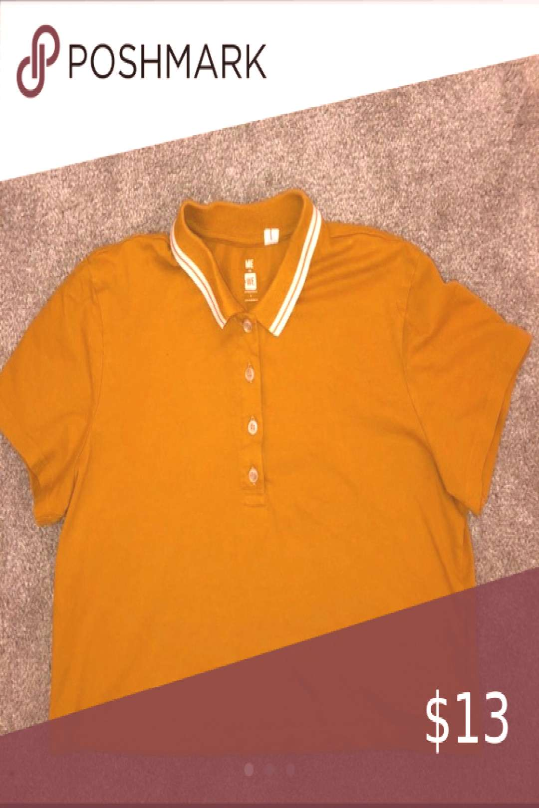 Collared crop top Lightly used, no stains, NOT faded!!! Mustard yellow? large but will fit mediu