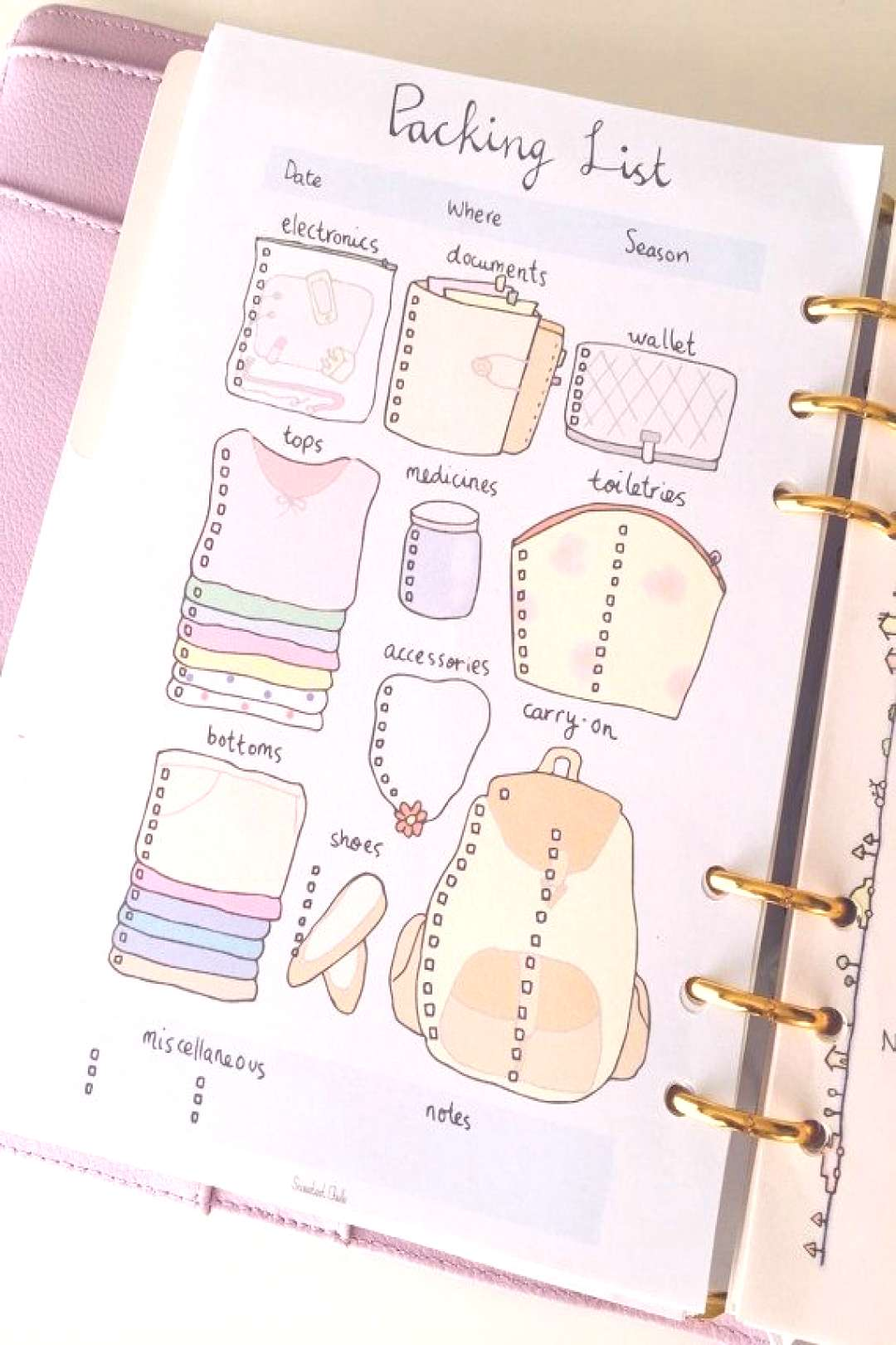 Cute Printable A5 Page - Printable Packing List - Travel / Vacation / Trip…