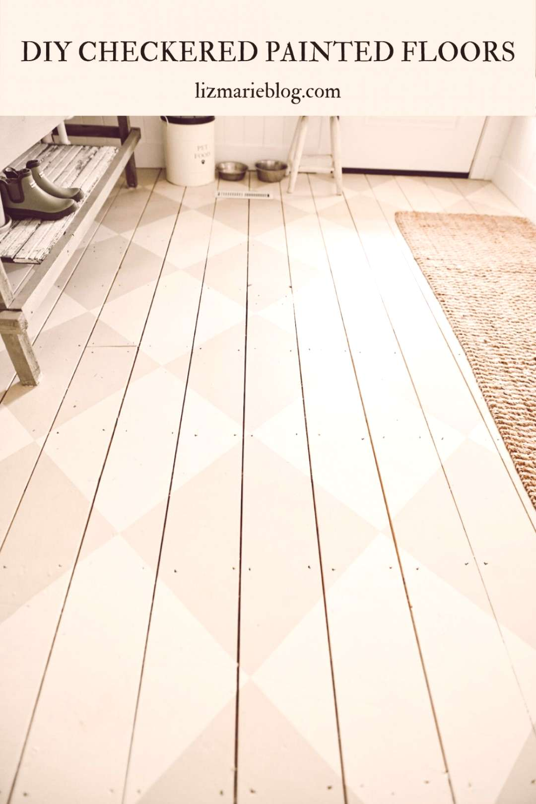 DIY Checkered Painted Floors Check out the full DIY for checkered painted floors in the mudroom!