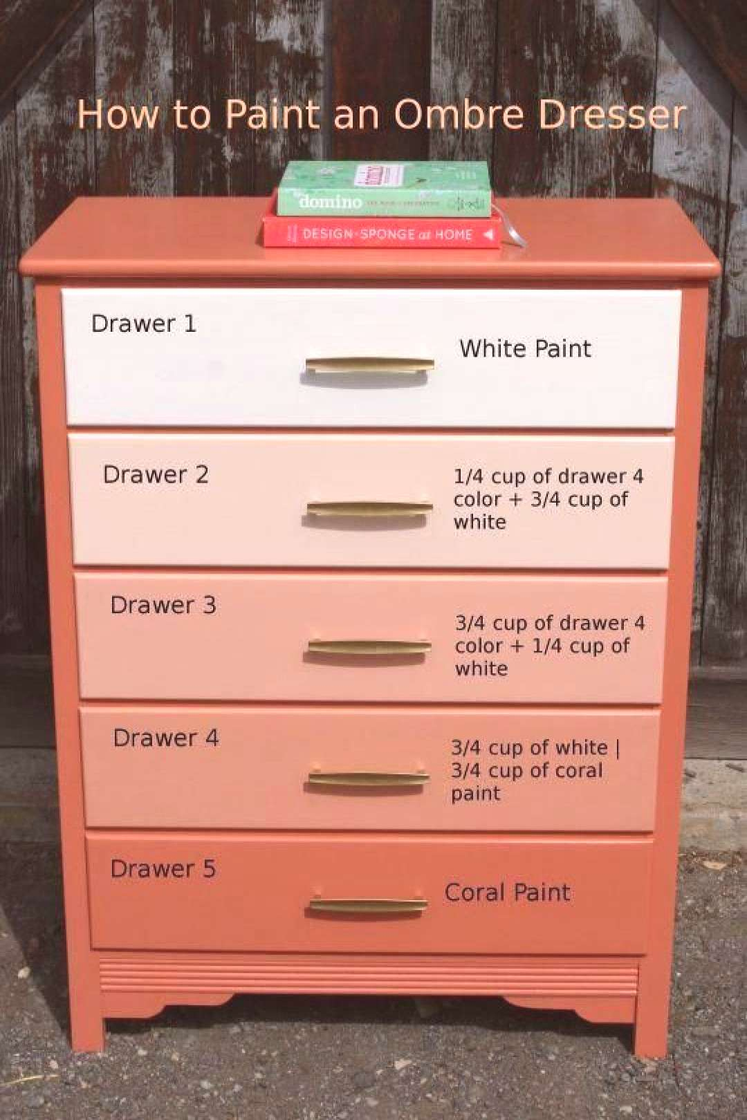 DIY Gradient (Ombre) Painted Dresser.., not a fan of the coral but good to know for mixing.