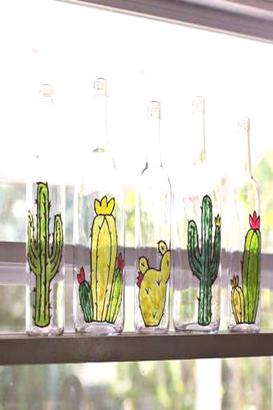 DIY Painted Bottles.... could be great XMas gifts for friends. They could put bracelets on the neck