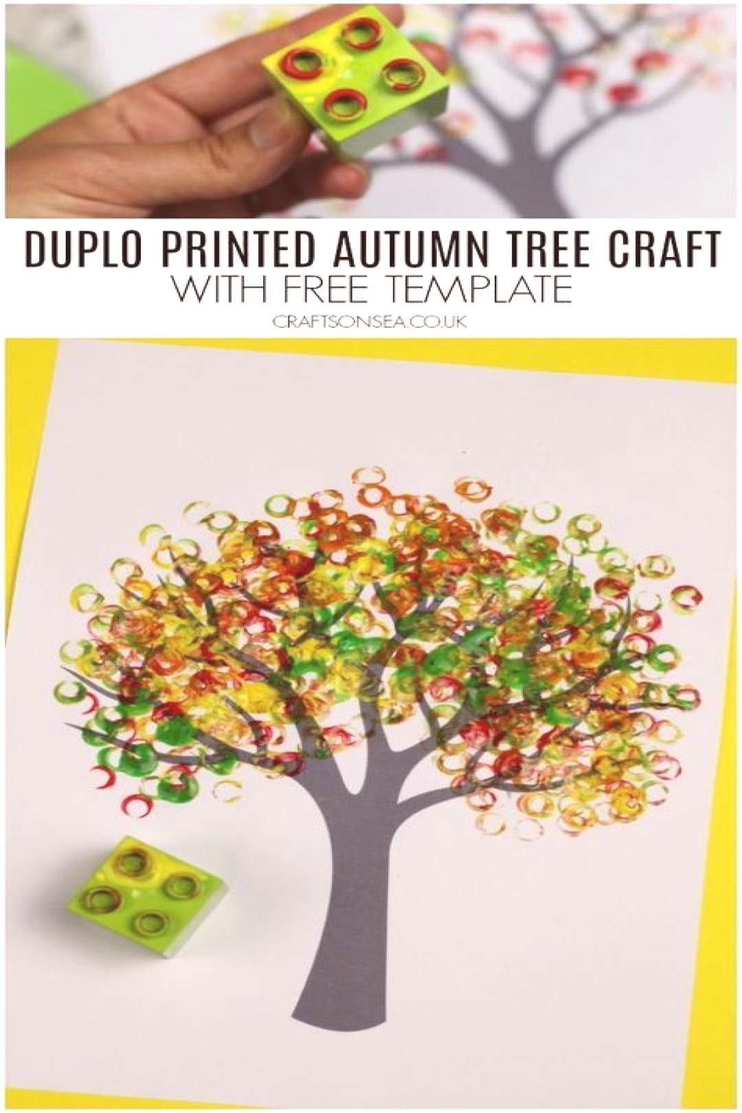 duplo printed autumn tree craft for kids