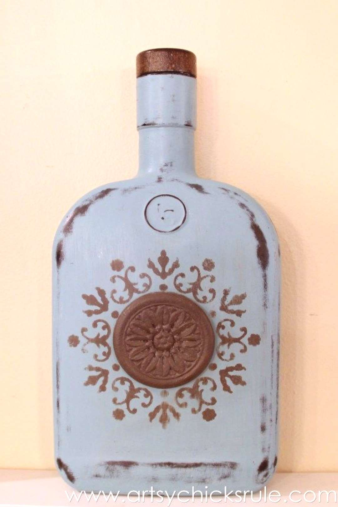 Easy, DIY Chalk Painted Bottles - Oil Rubbed Bronze- Provence Finished -