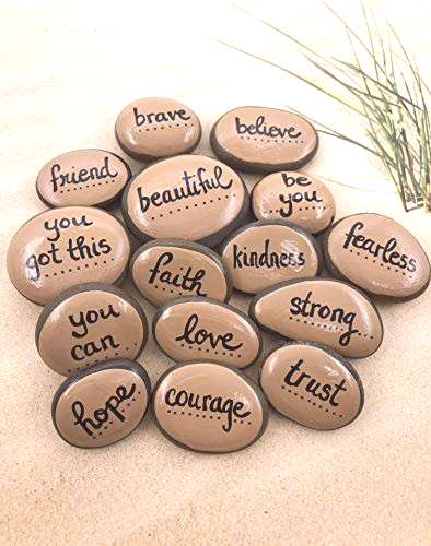 Empowerment Pebbles Set of 15 Hand Painted Affirmation and