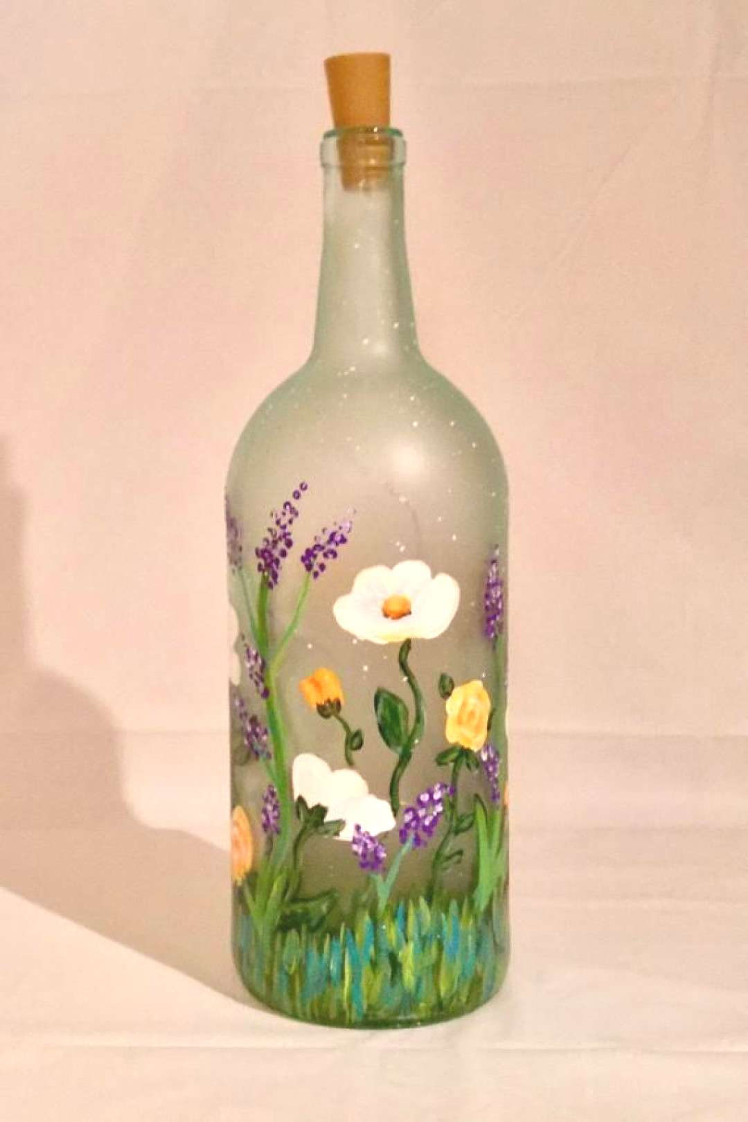 Floral Lighted Bottle Flower Painted Wine Bottle   Etsy bottle crafts summer Your place to buy and