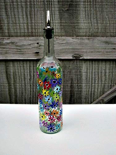 Hand Painted Dish Soap Dispenser, Clear Wine Bottle,