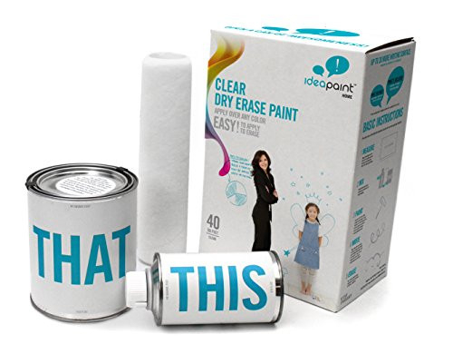 IDEAPAINT Home Clear Universal Dry Erase Paint Kit, 40 sq ft