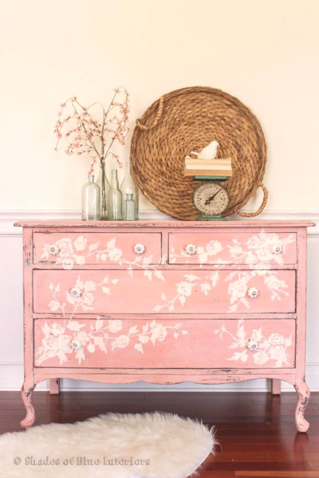 Ironstone and Apron Strings miss mustard seed painted dresser.....love the hand painted floral desi