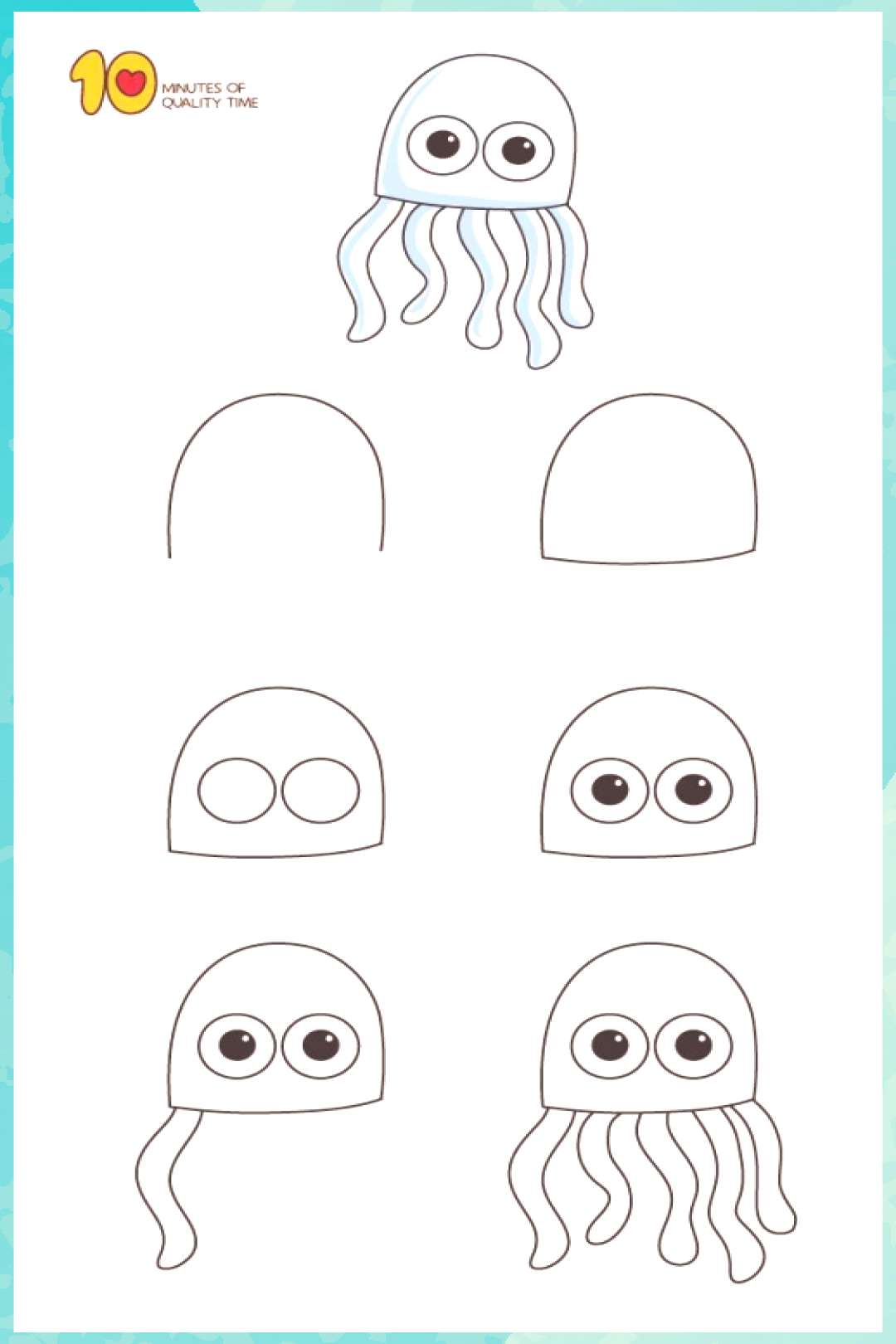 Kunst Zeichnungen - How to Draw a Jellyfish For Kids Step by Step - Aesthetic Costume Craft Decorat