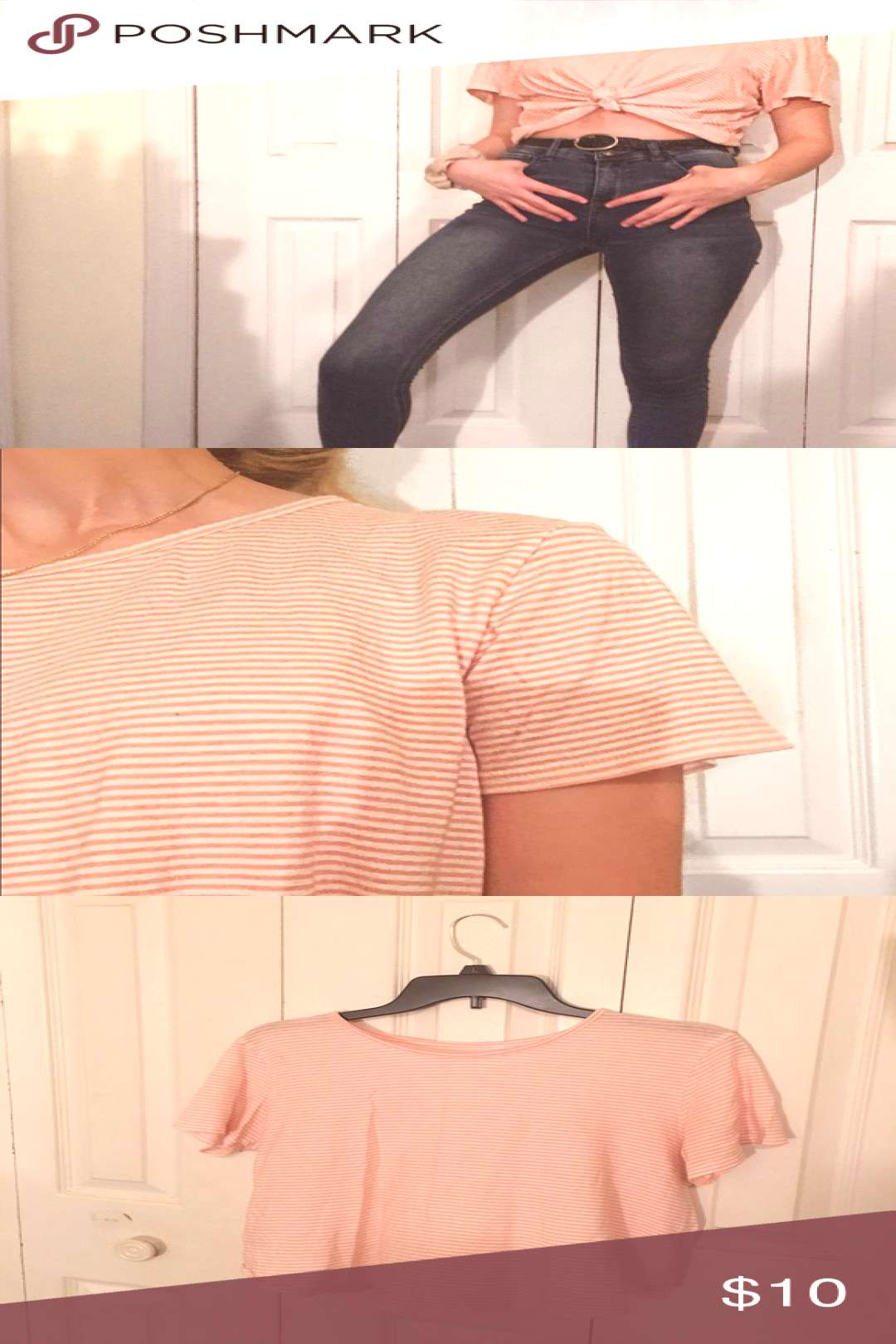 light pink and white striped crop top ? light pink and white striped crop top. slightly longer i