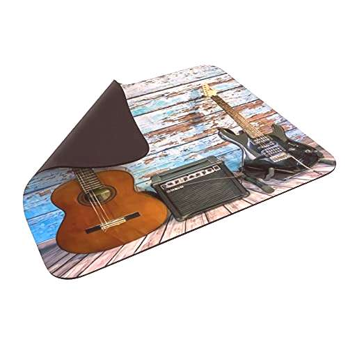 Mouse Pad Music Guitar on Colorful Painted Aged Wooden