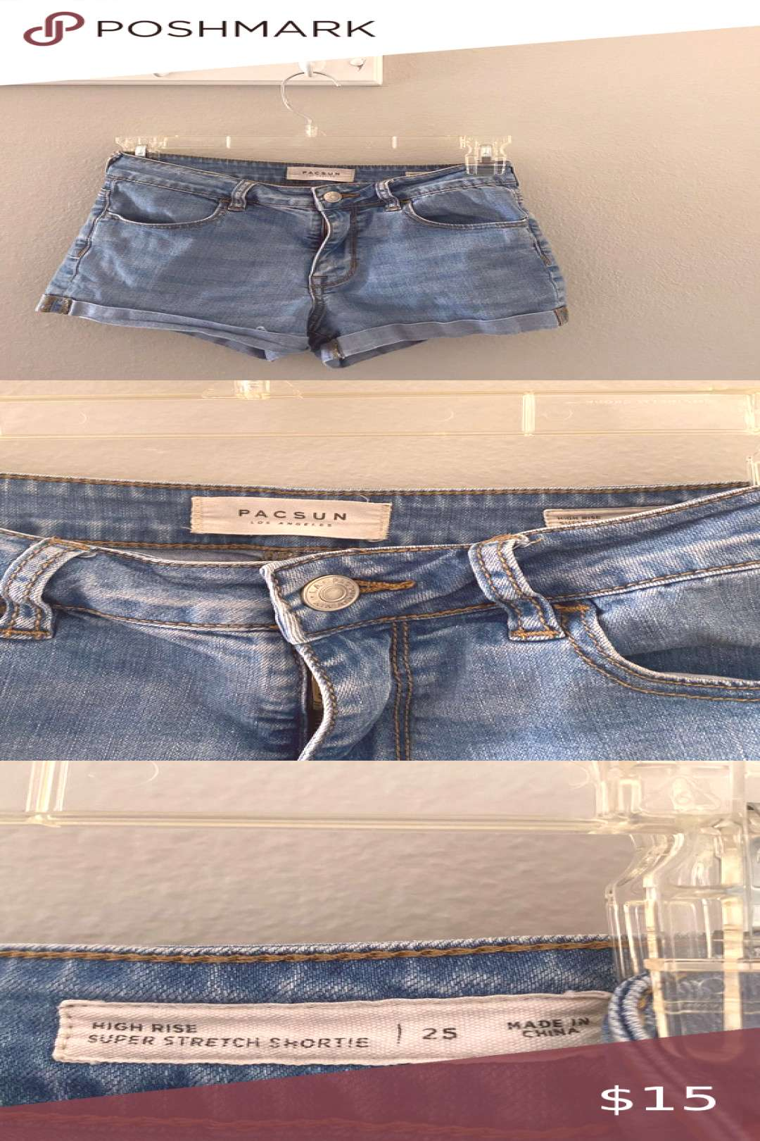 PACSUN Denim Shorts PacSun stretch shorts. Size 25. Super cute and pairs well with lots of tops )
