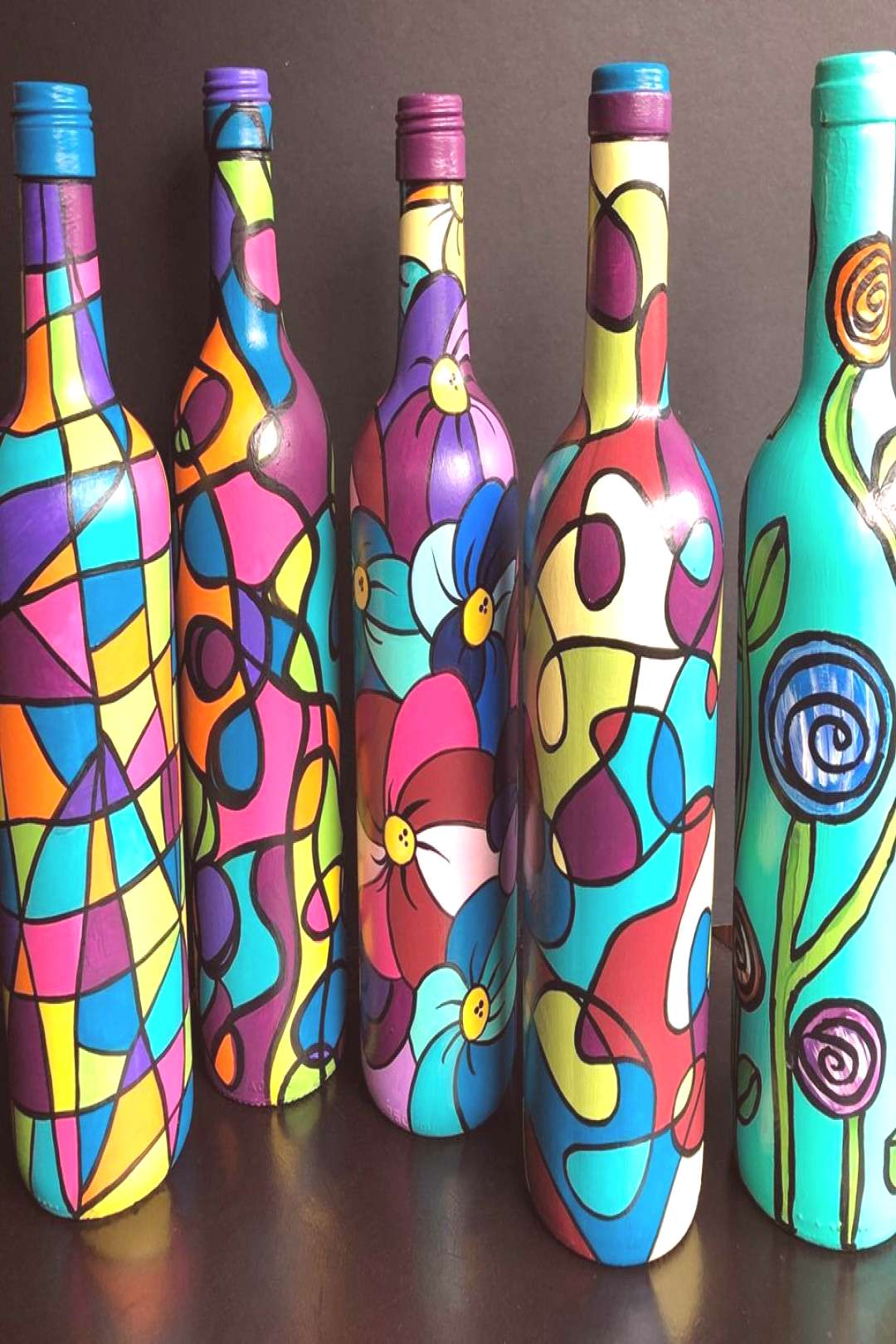 painted wine bottles from Happy Hooligans