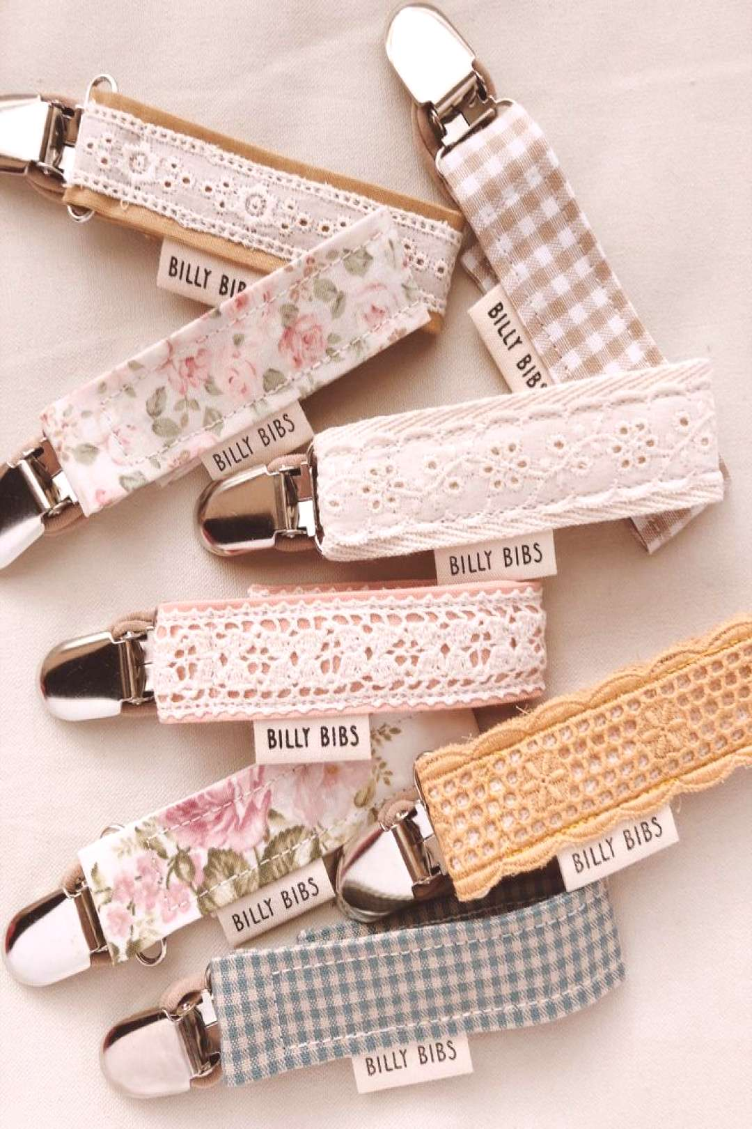 Pretty pacifier clips. Dummy clips, teething toy holders.