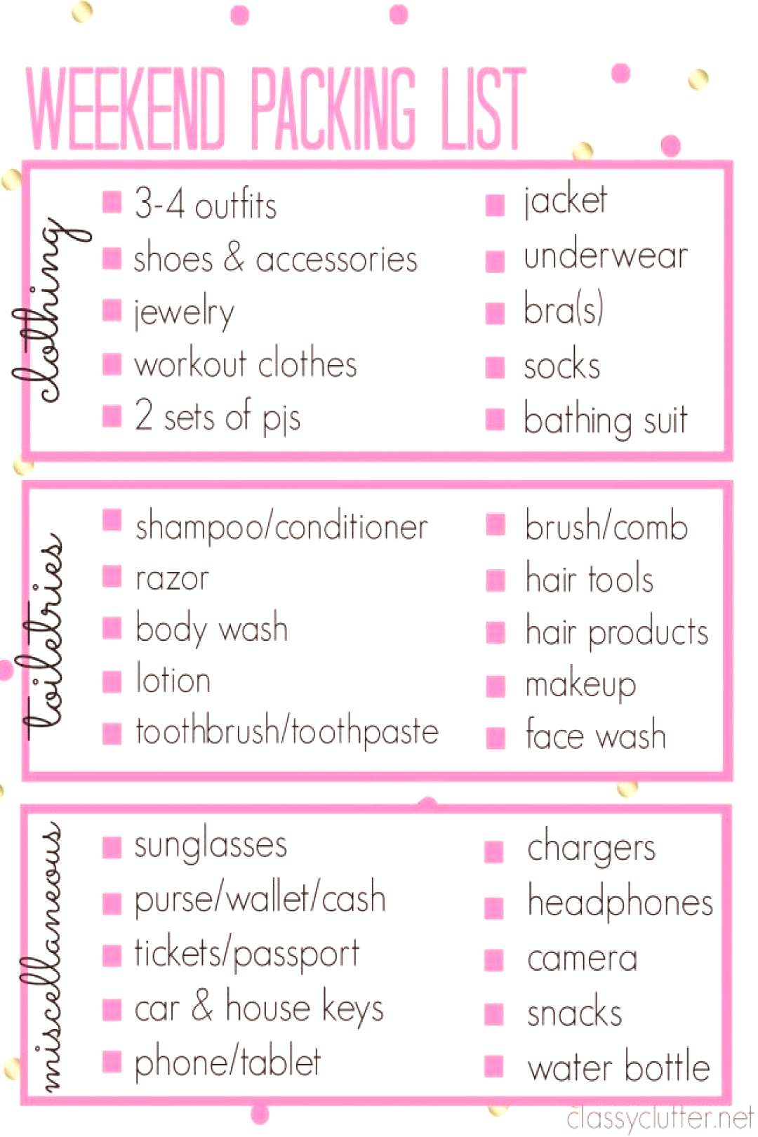 Printable Packing List for a weekend trip!