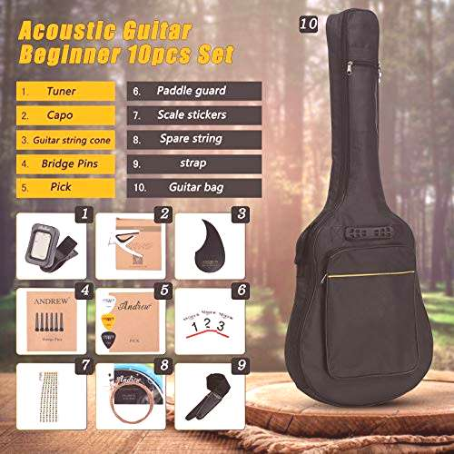 SPULAS Acoustic Wooden 38 Inch Guitar Hand-Painted Fawn