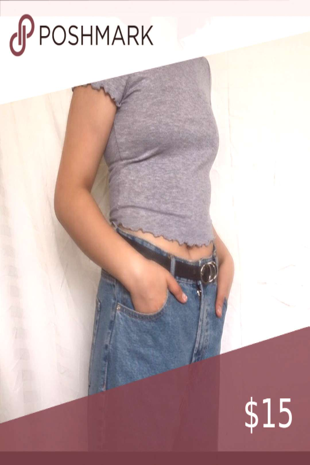 Stylish grey ribbed shirt with ruffled sleeves! Really cute and in style. Fits like a size medium m