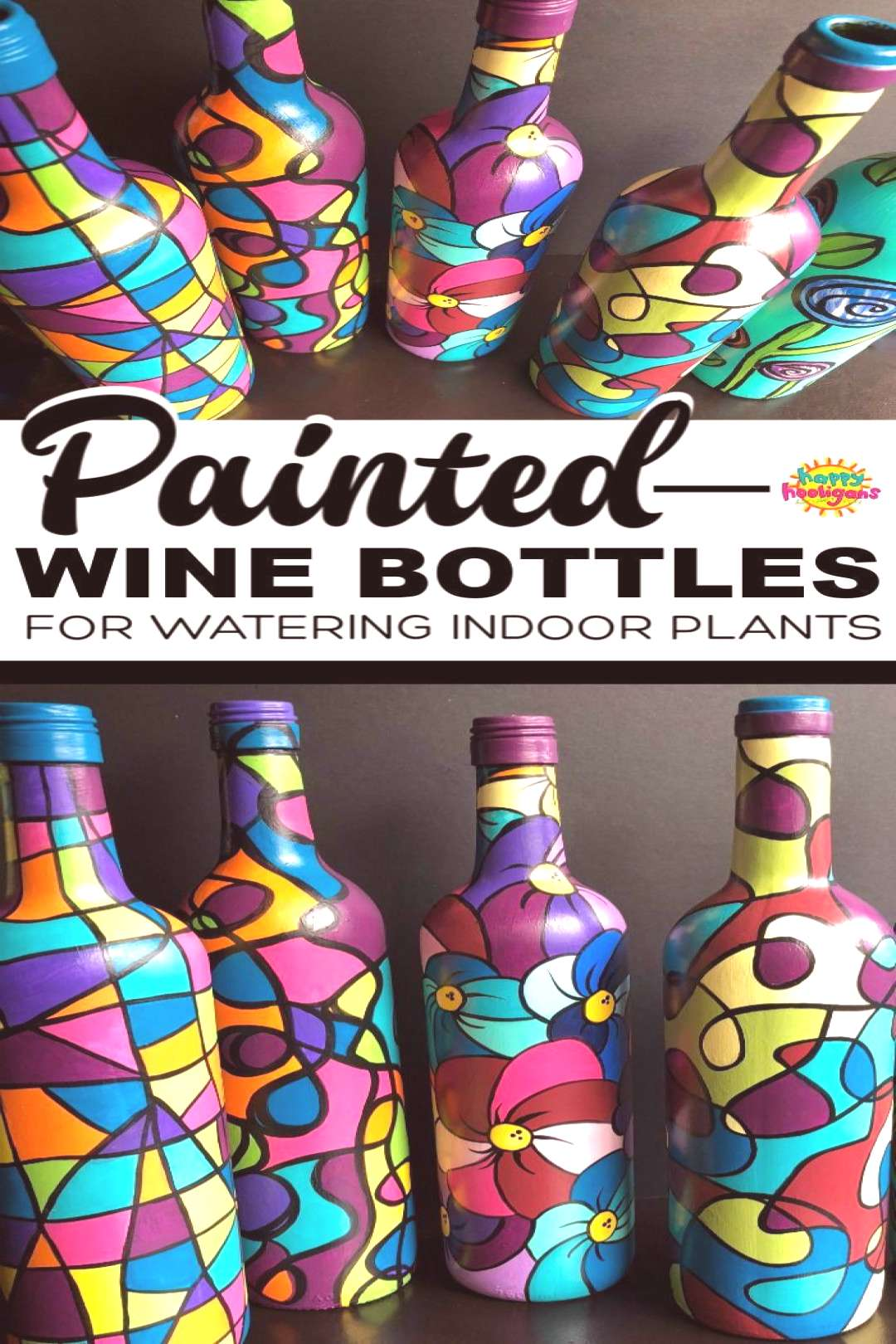 These painted wine bottles are so fun to make. Theyre great for watering potted plants. The long n