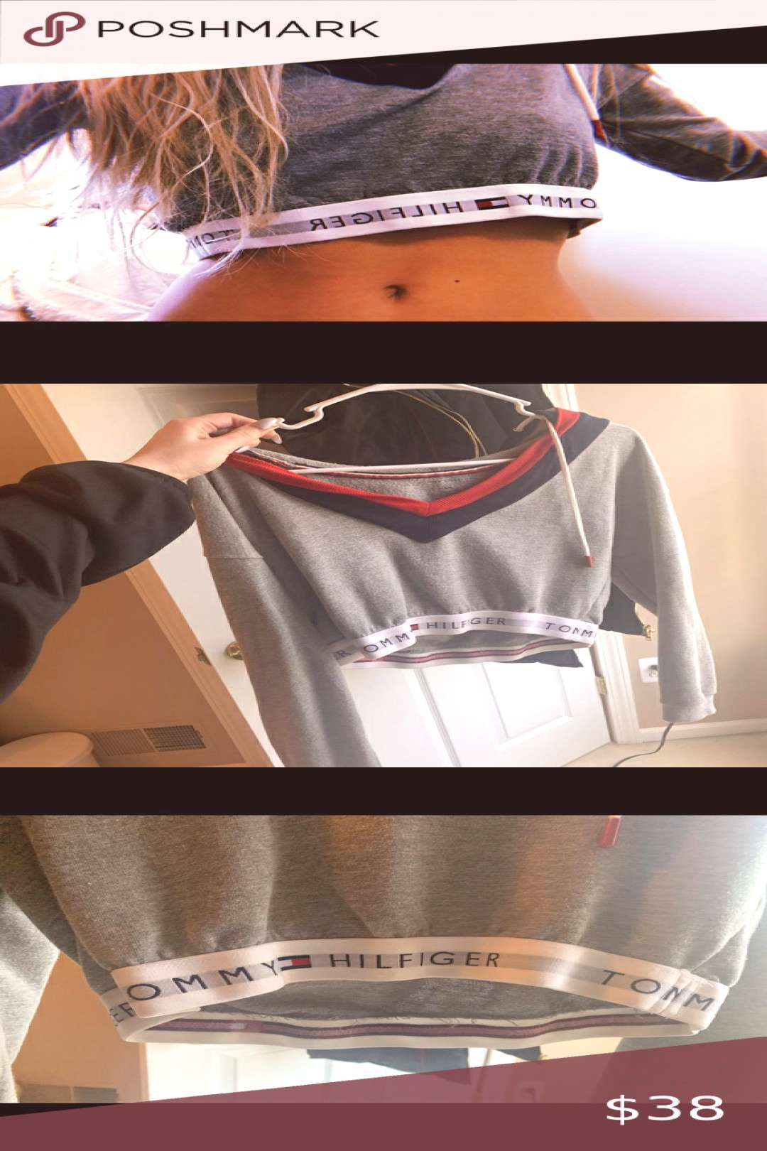 Tommy Hilfiger cropped hoodie new condition Tommy Hilfiger hoodie. Cropped and can be worn off the
