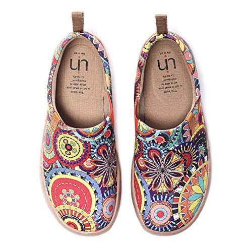UIN Womens Blossom Painted Fashion Sneaker Canvas Slip-On