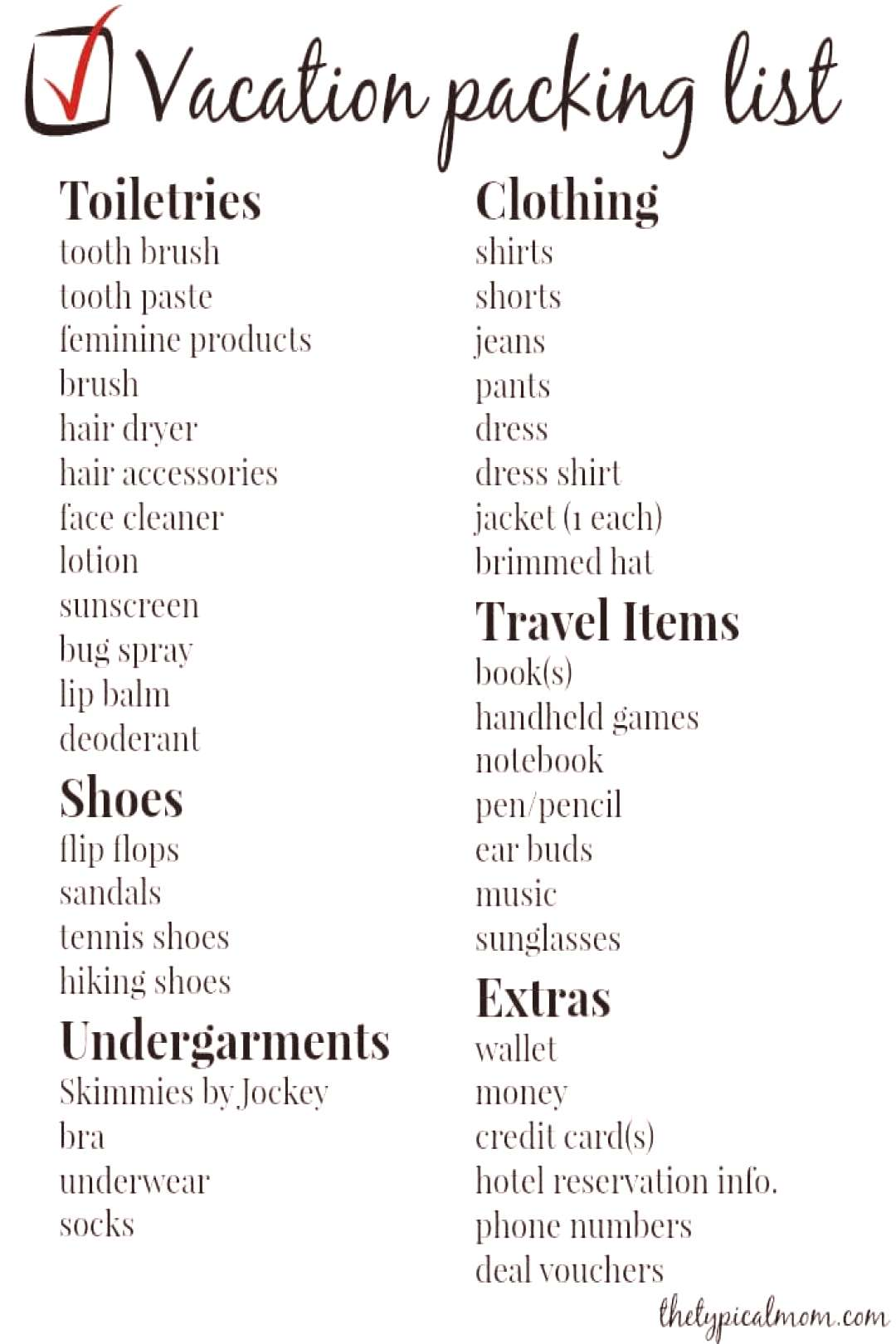 Vacation Packing List Free printable vacation packing list plus tips and tricks on what to pack whe